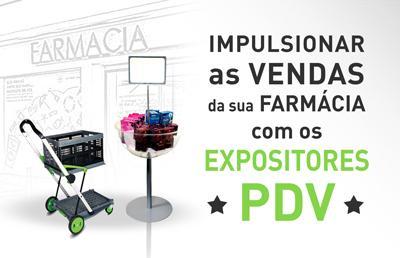 Expositores PDV venda impulsionada em farmacias