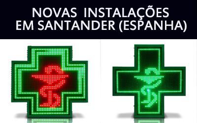 Novas instalações de Cruzes de farmácia de LEDs em Santander (Espanha)